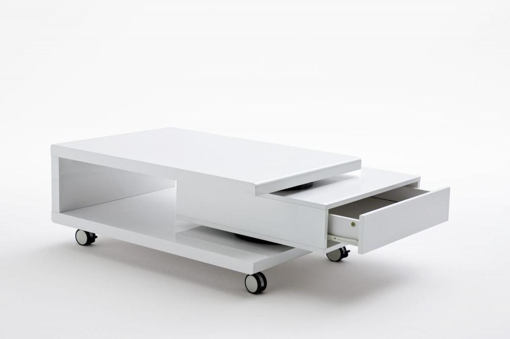 couchtisch gela hochglanz wei mit 4 rollen kaufen bei. Black Bedroom Furniture Sets. Home Design Ideas