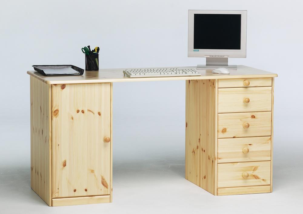 Schreibtisch kent kiefer massiv natur lackiert kaufen for Schreibtisch kiefer lackiert