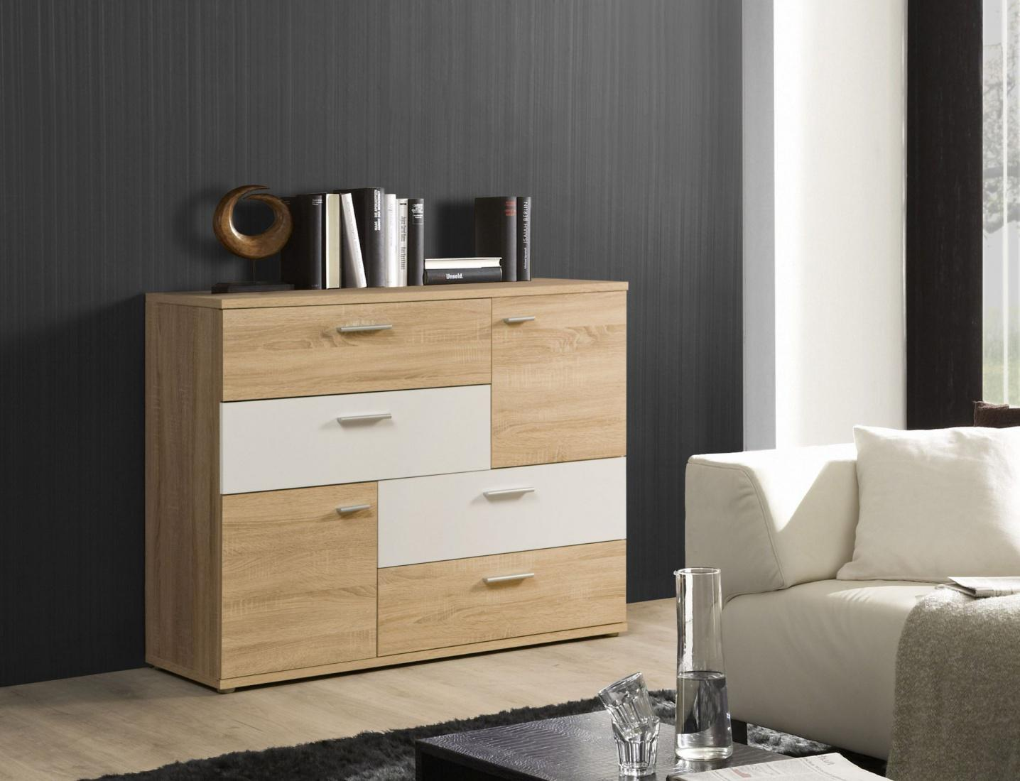 kommode ulrika 2 t rig in sonoma eiche wei kaufen bei m bel lux. Black Bedroom Furniture Sets. Home Design Ideas