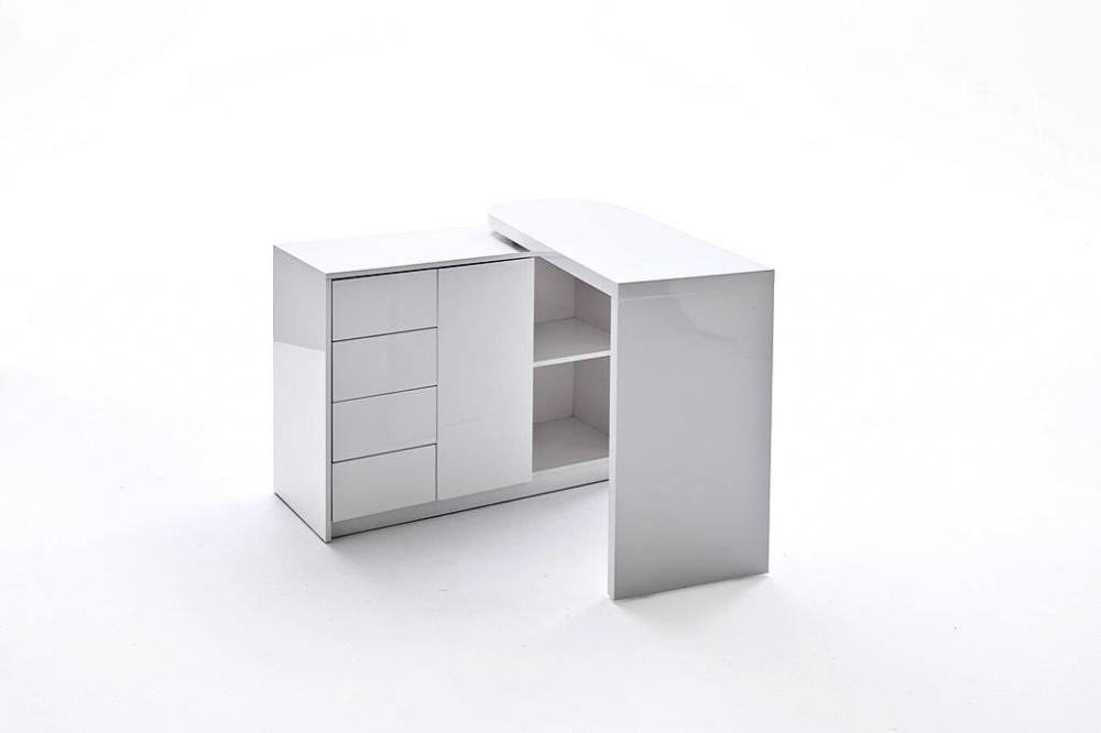 schwenkbarer schreibtisch matt wei hochglanz kaufen bei m bel lux. Black Bedroom Furniture Sets. Home Design Ideas