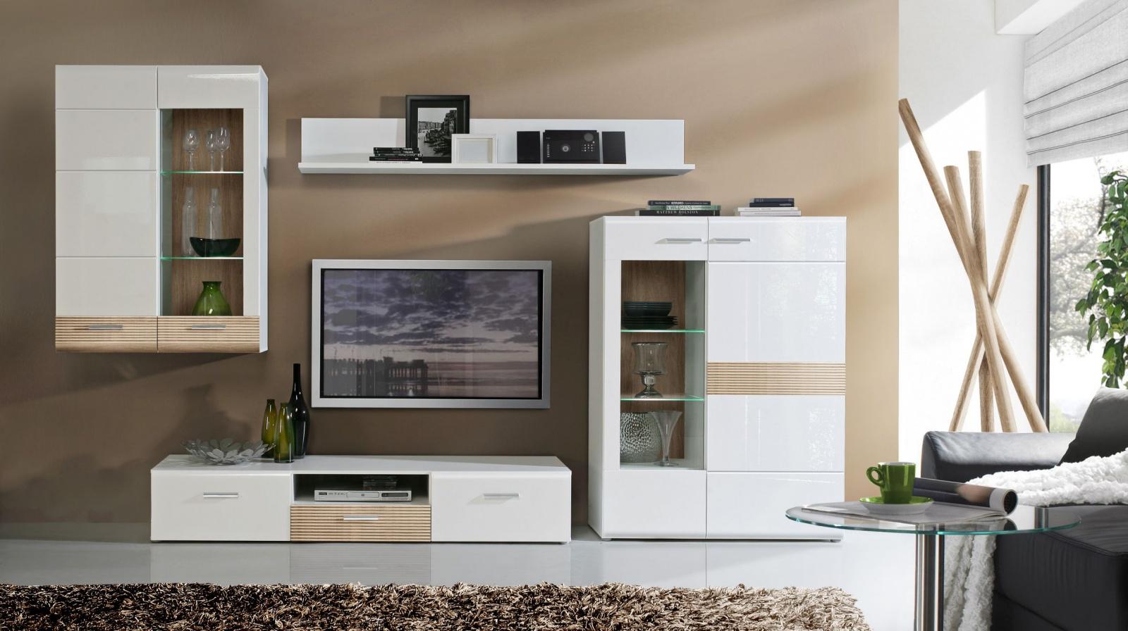 wohnwand marcel 4 tlg in uni weiss sonoma eiche kaufen. Black Bedroom Furniture Sets. Home Design Ideas