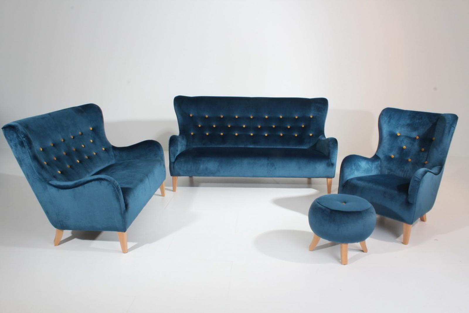 sofa s 2 medina samtvelours blau mit gelben kn pfen kaufen bei m bel lux. Black Bedroom Furniture Sets. Home Design Ideas