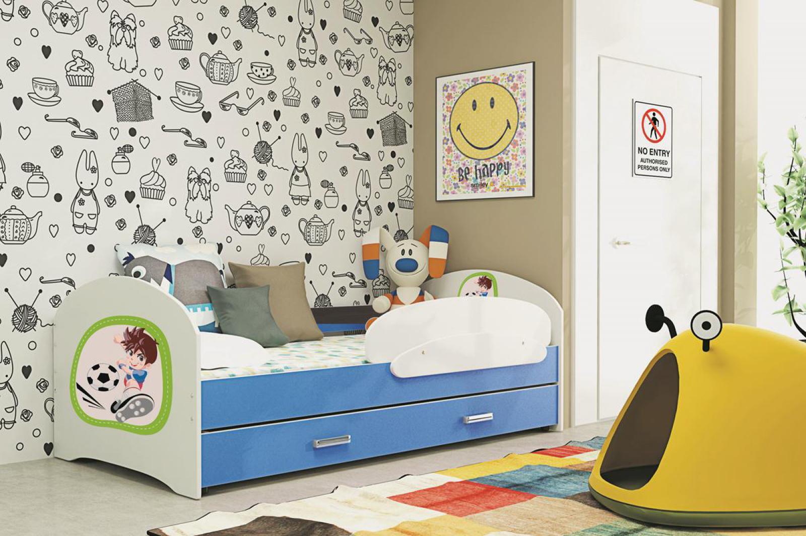 kinderbett funny mit bettkasten und sticker kaufen bei. Black Bedroom Furniture Sets. Home Design Ideas