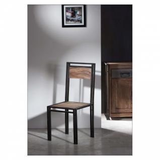 2er Set Stuhl Panama Panama Sheesham massiv natur mit schwarzem Altmetall