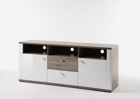 TV-Lowboard Malee 2 türig Weiß mit Sonoma Eiche