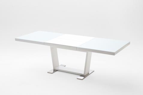 Jersey Esstisch 160x90 Weiß Hochglanz Ausziehbar