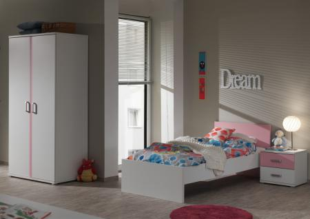 Kinderbett Set Lovisa 3-teilig in Weiß-Rosa