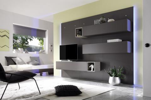 Wohnwand grau matt g nstig online kaufen bei yatego for Wohnwand grau matt