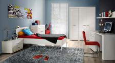 Jugendzimmer Set Kimi 6-teilig in Weiß matt