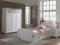 Jugendzimmer komplett Albin 4- teilig in Weiß MDF