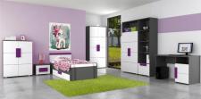 Kinderzimmer Set Trinity 7- tlg Grau matt Weiss violett