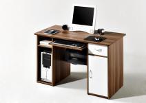 PC Tisch-Schreibtisch Mike in walnuss-weiß