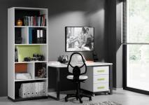 Schreibtisch Set Inese 3-teilig in Weiß-Anthrazit
