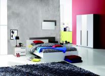 Schlafzimmer Set Brosse 4-teilig in Weiß-Basalt Schwarz