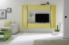 Wohnwand Rita 4-teilig Kombi 2 in Gelb Hochglanz