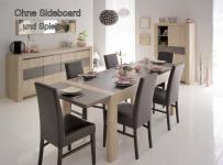 Tischgruppe Vico - Set 6-Teilig-C - Eiche / Steinoptik