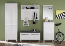 Garderoben Set Wanja 5-teilig in Weiß Melamin