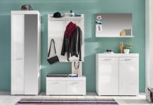 Garderoben Set Broney 5-teilig in Weiß Hochglanz