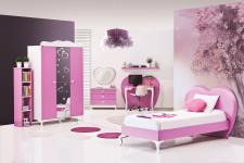 Kinderzimmer HERZ 7-teilig Weiß-Pink