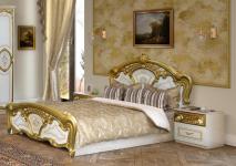 Doppelbett Julianna 160 x 200 cm in Weiß-Gold