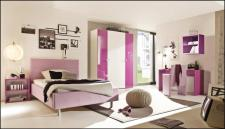 Kinderzimmer Smart 4-tlg weiß-lila Hochglanz