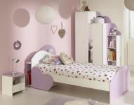 Mädchenzimmer Set Sumi 4-teilig in Weiß-Lila Melamin