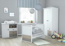 Song Babyzimmer 3-teilig Weiß mit Basalt und Ton
