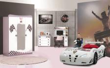 Kinderzimmer Set Autobett Police weiß 4-tlg