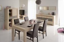 Tischgruppe Vico - Set 6-Teilig-A - Eiche / Steinoptik