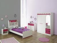 Kinderzimmer-Set Lore 4-teilig Kiefer-Weiß Pink