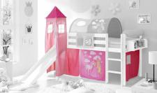 Motiv Vorhangstoff mit Turm Horse (pink) 3-teilig 196 x 74 x 88 cm