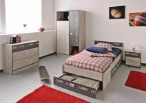 Jugendzimmer Fabric 5-tlg Esche-Grau