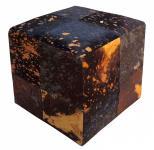 Sitzwürfel This & That Kuhfell bedruckt Braun auf Gold