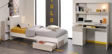 Jugendzimmer Set Enia 3-teilig in Weiß-Loft Grey