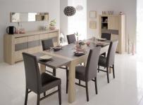 Tischgruppe Vico - Set 8-Teilig - Eiche / Steinoptik