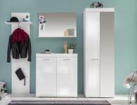 Garderoben Set Broney 4-teilig in Weiß Hochglanz