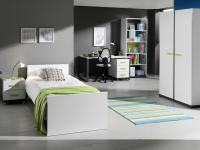 Jugendzimmer Set Inese 6-teilig in Weiß-Anthrazit