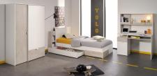 Jugendzimmer Set Enia 5-teilig in Weiß-Loft Grey