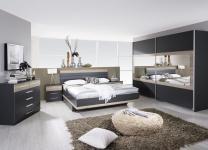 Komplett-Schlafzimmer TARRAGONA (4-teilig) grau-metallic / Eiche Sanremo
