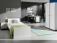 Jugendzimmer Set Inese 5-teilig in Weiß-Anthrazit