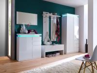 Garderoben Set Aila 5-teilig in Weiß Hochglanz