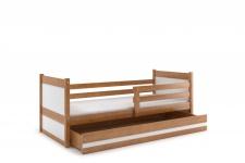 Kinderbett Joko in Erle mit Bettkasten in verschiedenen Farben