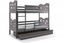 Etagenbett Stasy in Grau mit Sternen und Bettkasten