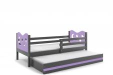 Kinderbett Stasy in Grau mit Sternen und Gästebett