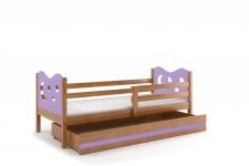 Kinderbett Stasy in Erle mit Sternen und Bettkasten