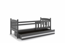Kinderbett Shelly im Landhausstil in Grau mit Bettkasten