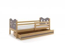 Kinderbett Stasy in Kiefer mit Sternen und Bettkasten