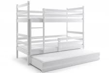 Etagenbett Dario in Weiß mit Gästebett inkl. Lattenroste und Matratzen