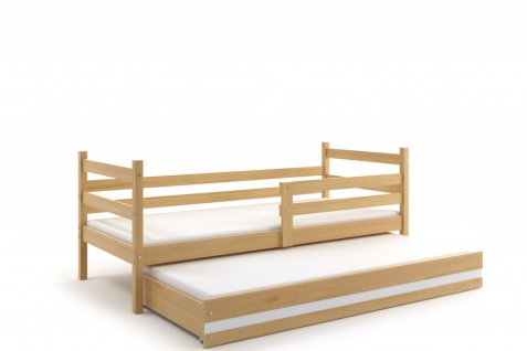 Kinderbett Dario in Kiefer mit Gästebett inkl. Lattenrost und Matratzen