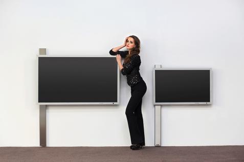 TV- Halter Rolling in Edelstahl gebürstet Schwarz